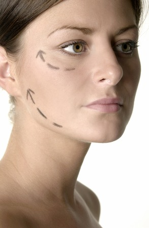 Womans face with arrows showing up Stock Photo