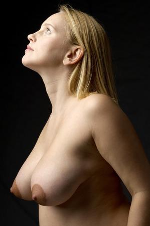 Topless Pregnant womans Stock Photo