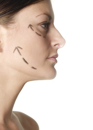 womans: Womans face with arrows showing up Stock Photo