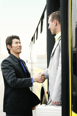 desirous: Businessman greeting his client Stock Photo