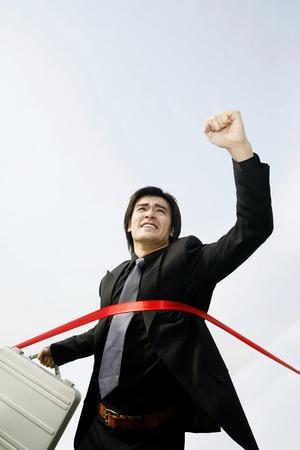 Businessman winning the race