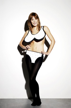 inner wear: Woman in bikini posing for the camera Stock Photo