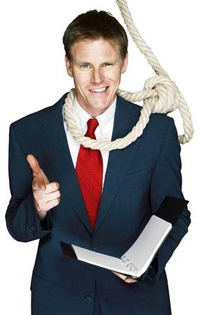 hanging around: Cuerda que cuelga alrededor del cuello del hombre de negocios Foto de archivo