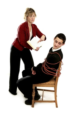 Teacher forcing her student to study