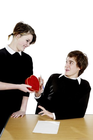 admirer: Boy rejecting a lovely gift from his admirer