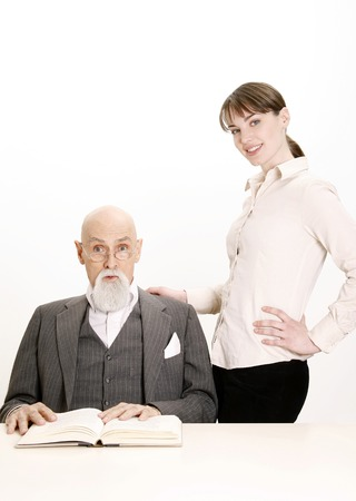 Woman standing beside her favourite lecturer Stock Photo