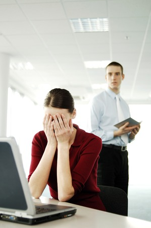 businessman working at his computer: Businesswoman crying