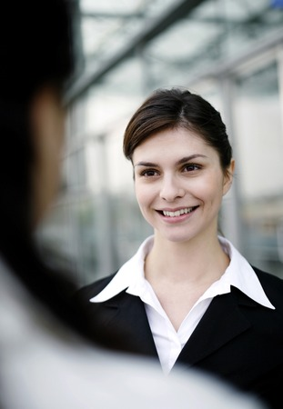 desirous: Businesswoman smiling