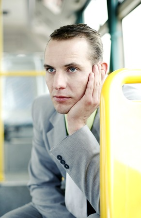 desirous: Businessman daydreaming in the train