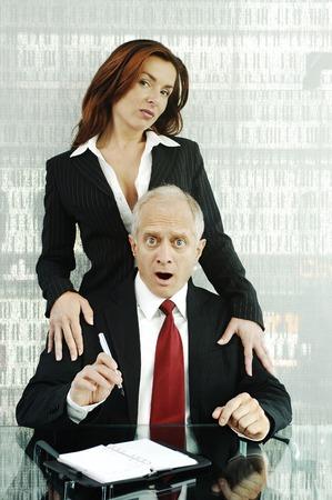 arousing: Businesswoman seducing her colleague