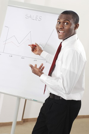 Businessman looking at the sales chart