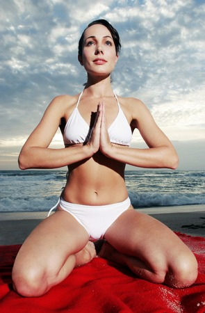 Woman practising yoga photo