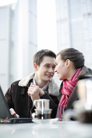 Loving couple looking at each other photo