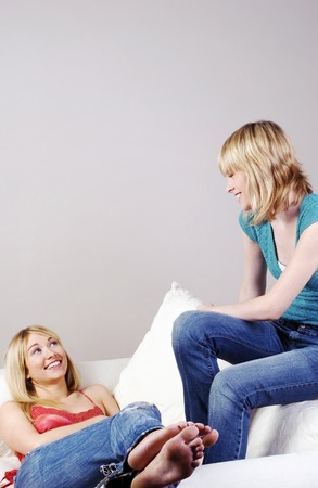 Two women talking Stock Photo