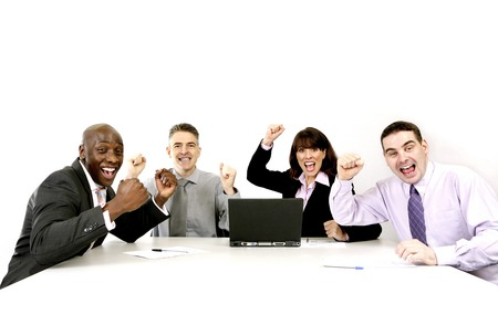 formality: Corporate people jubilating