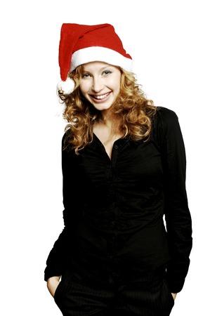 wearing santa hat: Businesswoman wearing Santa hat