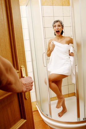embarrassing: Woman in shock Stock Photo