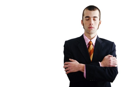 folding arms: Businessman closing eyes while folding arms Stock Photo