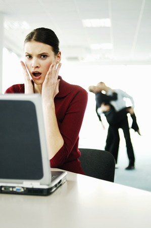 captivation: Businesswoman in shock Stock Photo