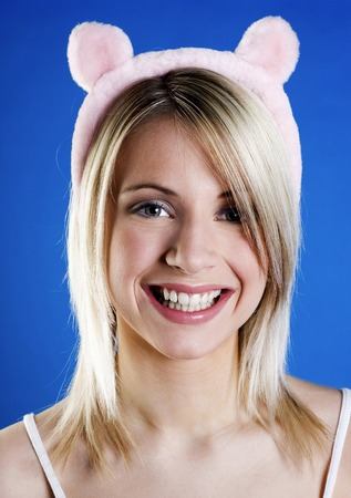 Woman wearing a cute bear hair band photo