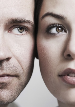 Couples face close to each other, close-up photo