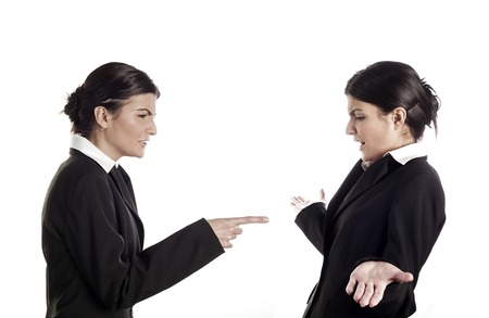 denying: Businesswoman blaming her colleague