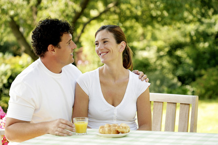 Couple having breakfast together photo
