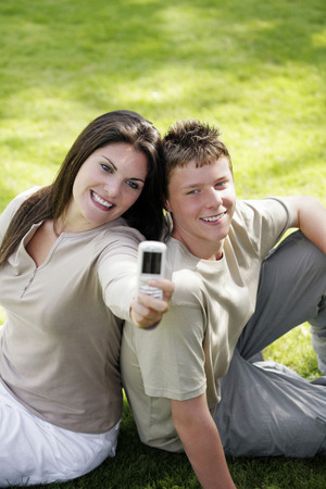 Mother and son taking picture together photo