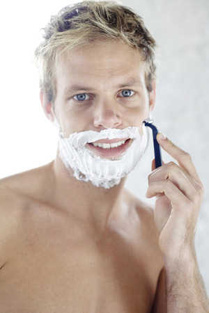 bare chested: Bare chested man shaving