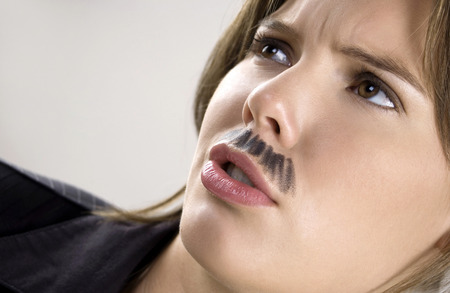 ��role reversal�: Businesswoman with moustache