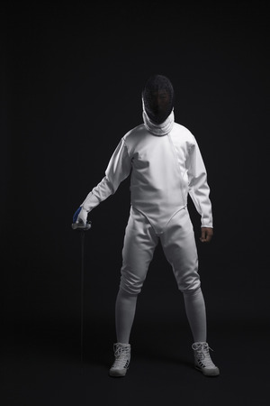 fencing foil: Man with fencing foil
