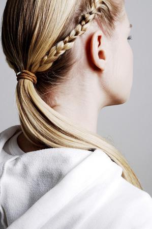 Womans hair in braids photo