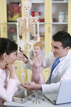 anatomical model: Doctor pointing at anatomical model, patient watching