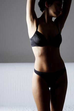 Woman in black lingerie photo