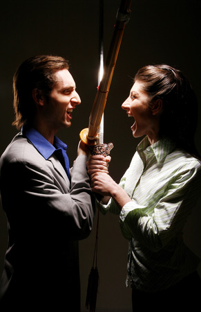 he she: Business people from different martial art confronting each other