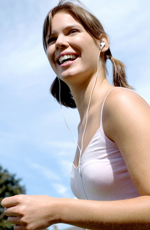 Woman listening to music photo