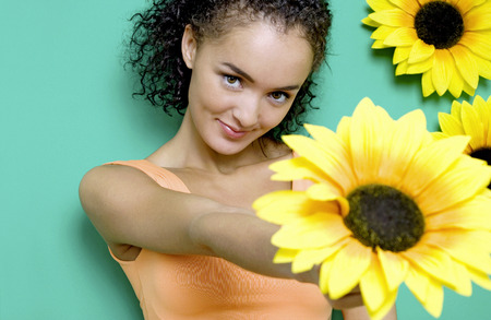 Woman holding a flower photo