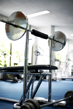 well equipped: Close up of equipments in gym Stock Photo