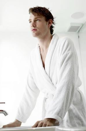bath robe: A guy in bath robe