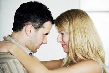 Couple looking at each other