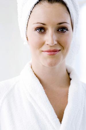 bath robe: A portrait of a young lady in bath robe
