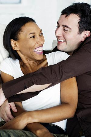 no boundaries: Couple of mix ethnicity embracing