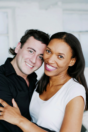 Couple of mix ethnicity embracing
