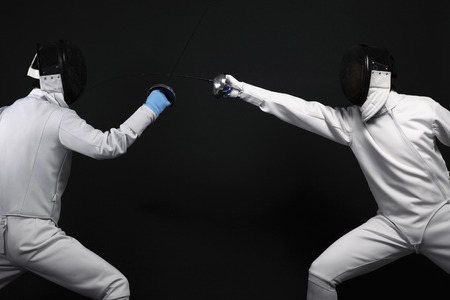 duelling: Man attacking his opponent Stock Photo