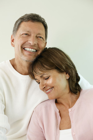 Woman leaning on man Stock Photo