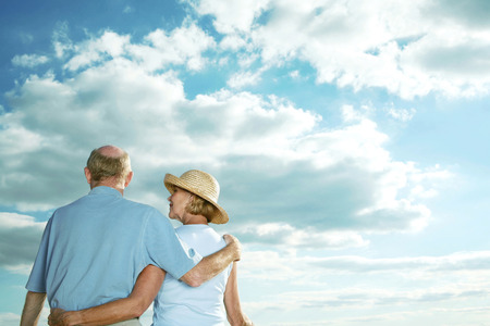 Senior couple enjoying a beautiful day photo
