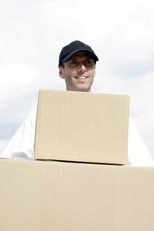 Front view of a delivery man on duty