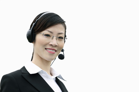 Businesswoman with telephone headset photo