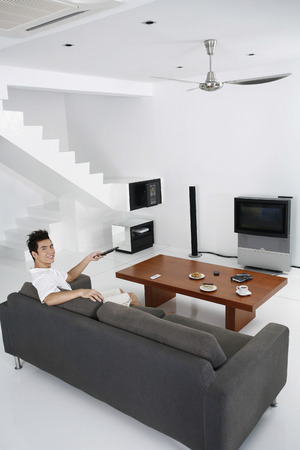 Man in a spacious living room photo