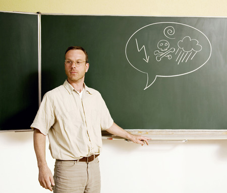 Man with swearing symbols on the speech bubble photo